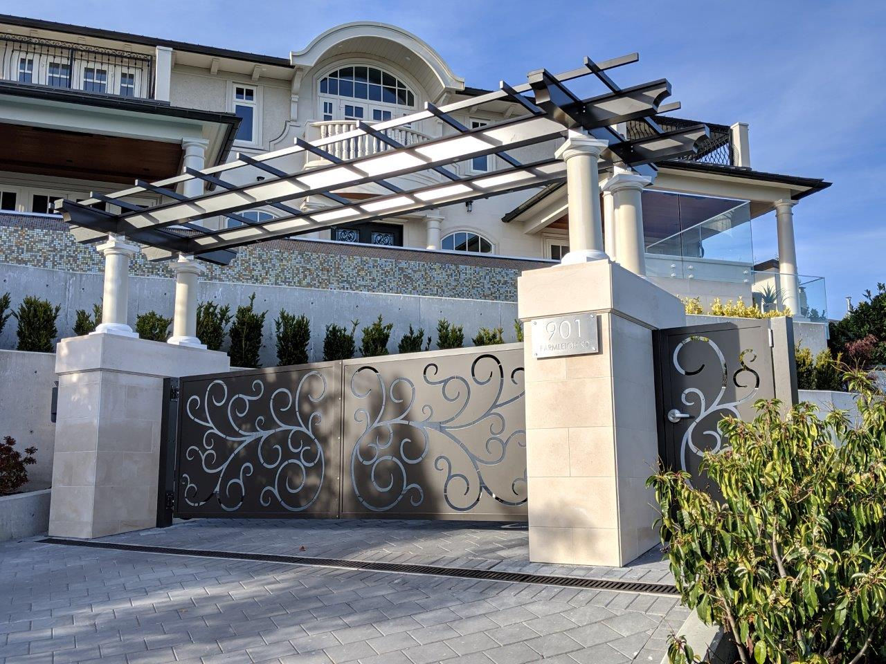Automated Driveway Gate, Pedestrian Door and Trellis, West Vancouver