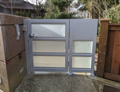 Aluminum Pedestrian Door with Frosted Glass Vancouver