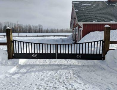 Aluminum Driveway Gate with Logo, Pemberton, BC