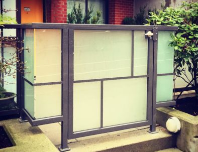 Aluminum and Frosted Glass Pedestrian Door, Vancouver
