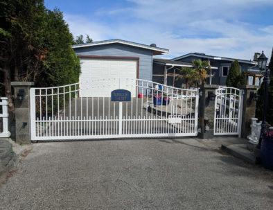 Single Swing Aluminum Driveway Gate & Pedestrian Door, Point Roberts